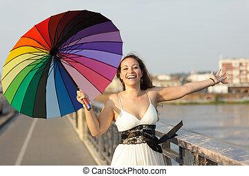 joyeux, parapluie, femme