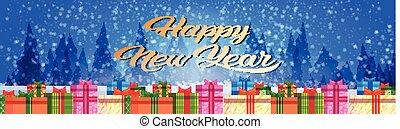 joyeux, plat, concept, coloré, cadeau, décoration, boîtes, forêt, fond, année, nouveau, horizontal, bannière, noël, paysage, hiver
