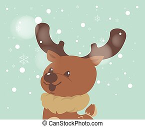 joyeux, reindeer., noël carte, salutation