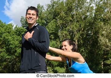 joyeux, sport, couple