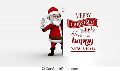 joyeux, texte, tenue, nouvel an, heureux, planche, noël, santa