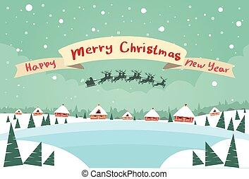 joyeux, traîneau, heureux, année, nouveau, bannière, santa, noël, claus, renne