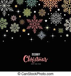 joyeux, vecteur, flocon de neige, coloré, noël