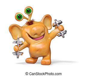 Joyful 3d fantasy cartoon monster athletic ,isolated rendering