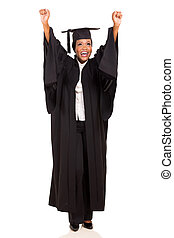 african american female university graduate arms up