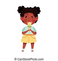 Joyful African American Girl Character Eating Ice Cream in Waffle Cone Vector Illustration. Little Kid Enjoying Summertime and Sweet Sundae Concept