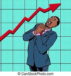 joyful african businessman growth chart. Pop art retro...