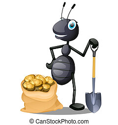 Joyful ant with a shovel and a sack of potatoes isolated on white background. Vector cartoon close-up illustration.