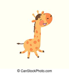 Joyful baby giraffe in playing action. Cartoon character of wild animal with long neck and spotted body. Colorful flat vector design for postcard or sticker