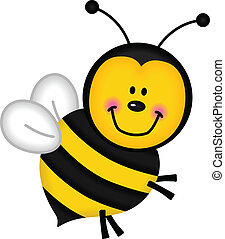 Image representing a joyful bee, isolated on white, vector design.