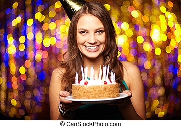 Joyful birthday - Portrait of joyful girl holding birthday ...