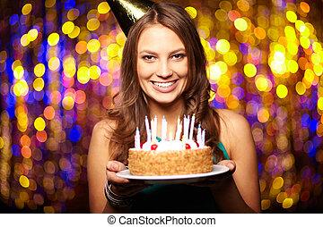 Joyful birthday - Portrait of joyful girl holding birthday...