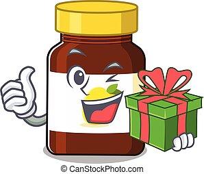 joyful bottle vitamin c cartoon character with a big gift box. Vector illustration