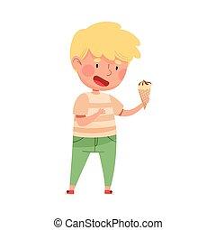 Joyful Boy Character Holding Ice Cream in Waffle Cone Vector Illustration. Little Kid Enjoying Summertime and Sweet Sundae Concept