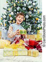 joyful boy in pajama