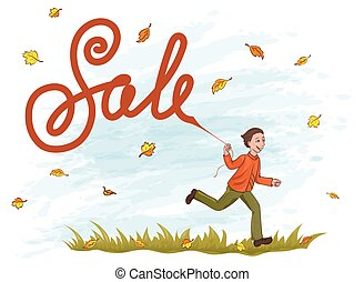 Joyful boy running on the grass with kite like lettering Sale. Yellow and orange leaves in the blue sky.
