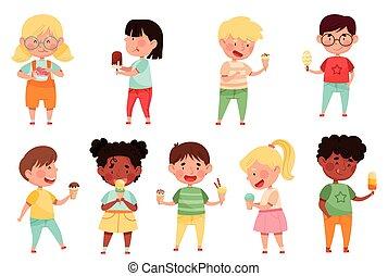 Joyful Boys and Girls Holding and Eating Ice Cream Vector Set. Little Kids Enjoying Summertime and Sweet Sundae Concept