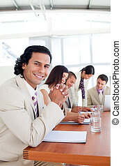 Joyful business people having a meeting