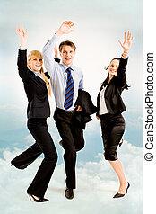 Joyful business people - Image of three joyful business...
