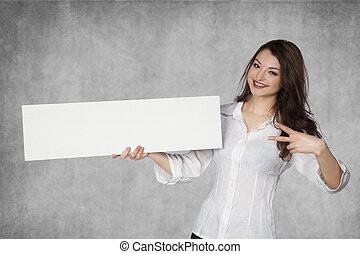 Joyful business woman with copy space