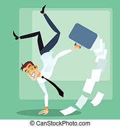 Joyful businessman doing handstand