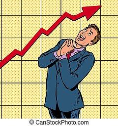 joyful businessman growth chart. Pop art retro vector...