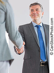 Joyful businessman shaking a hand