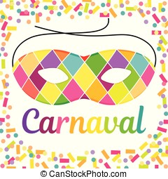 Joyful Carnival illustration with beautfiul Harlequin mask...