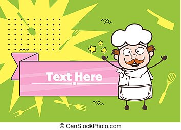 Joyful Cartoon Chef with Banner Vector Illustration