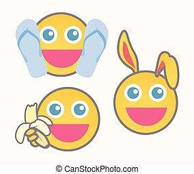 Joyful Cartoon Smiley Set