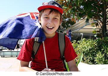 Joyful child flying flag