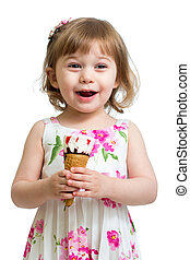 joyful child girl eating icecream