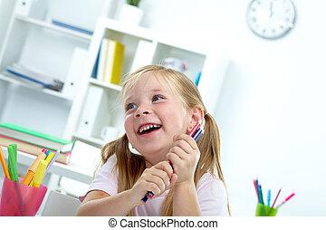 Joyful child - Portrait of joyful girl with colorful crayons