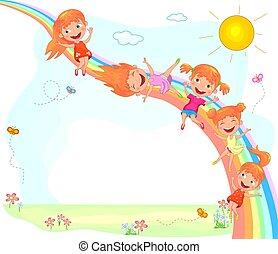Joyful children and a rainbow