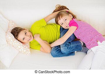 joyful children playing