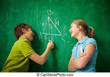 Joyful classmates