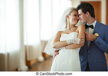 Joyful couple in their special wedding day