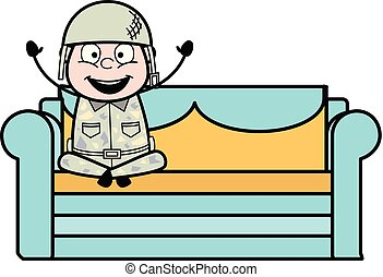 Joyful - Cute Army Man Cartoon Soldier Vector Illustration