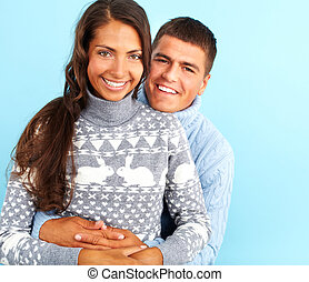 Joyful dates - Portrait of amorous couple in fashionable...