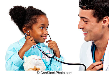 Joyful doctor and his patient playing with a stethoscope
