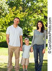 Joyful family in the park