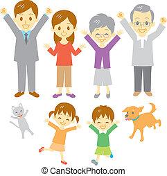 joyful family, three generation family, dog and cat