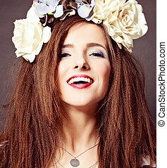 Joyful Fashion Model Woman with Makeup