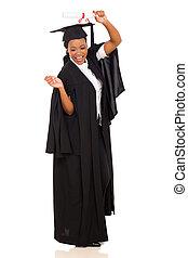 female african american graduate celebrating