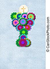 joyful first communion chalice card - Cute flowers chalice...