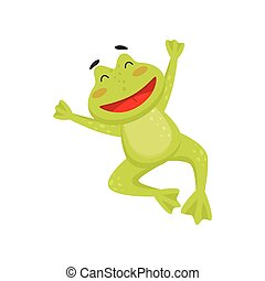 Joyful frog in jumping action with paws up. Happy toad. Flat vector element for children book or greeting card