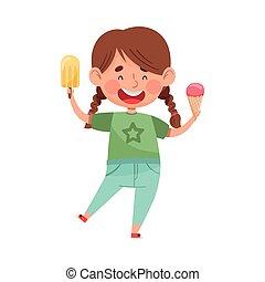 Joyful Girl Character Holding Ice Cream in Waffle Cone and Popsicle Vector Illustration. Little Kid Enjoying Summertime and Sweet Sundae Concept