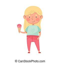 Joyful Girl Character Holding Ice Cream in Waffle Cone Vector Illustration. Little Kid Enjoying Summertime and Sweet Sundae Concept