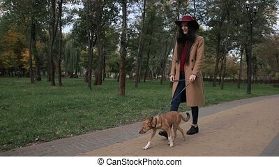 Joyful girl playing with her dog in public park