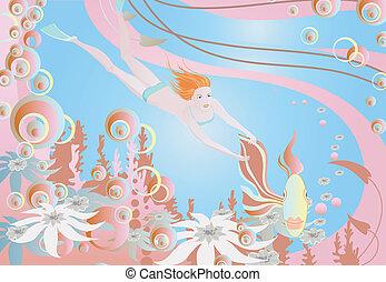 Joyful girl under the water